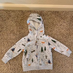 Carter's camping theme zip up hoodie size 9 months